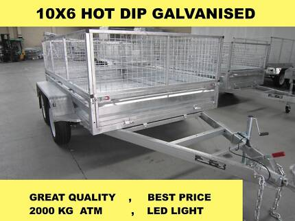 10X6 HOT DIP GALVANISED TRAILERS 2000 KG GVM ON SALE NOW