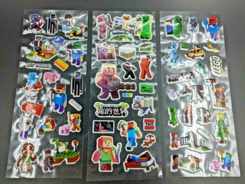 3 PACK Minecraft Lego World Stickers Pack Kids Fun Block Gamer - NEW