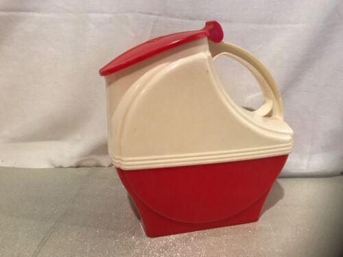Vintage Burrite Burroughs Water Pitcher Retro Plastic Red White Mid Century
