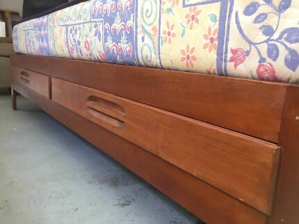 Vintage Timber Single Bed Base with Drawers and Matress