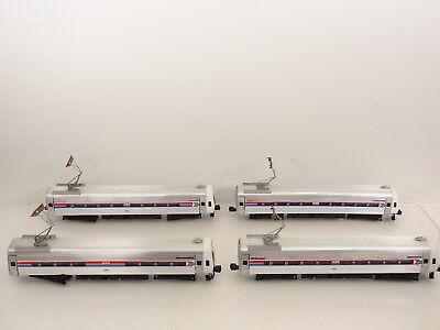 - Vintage Elliot Welz O Scale Amtrak Amfleet Metroliner 4 Car Passenger Set