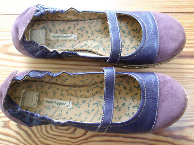 Hush Puppies Harmony Plum Suede Ballerinas, Slip ons, Mary Janes Size 9 Wide Fit