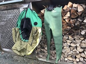 Kodiac Belly Boat plus Orvis neoprene flyfishing hip waders