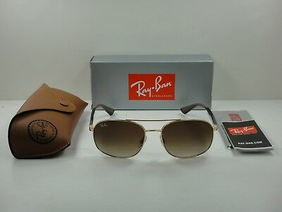 fd9cc917318 AUTHENTIC RAY-BAN SUNGLASSES RB3593 001 13 GOLD BROWN GRADIENT LENS 58MM
