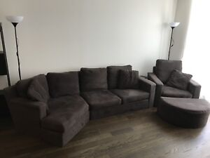 Brown micro fibre couch, arm chair and ottoman
