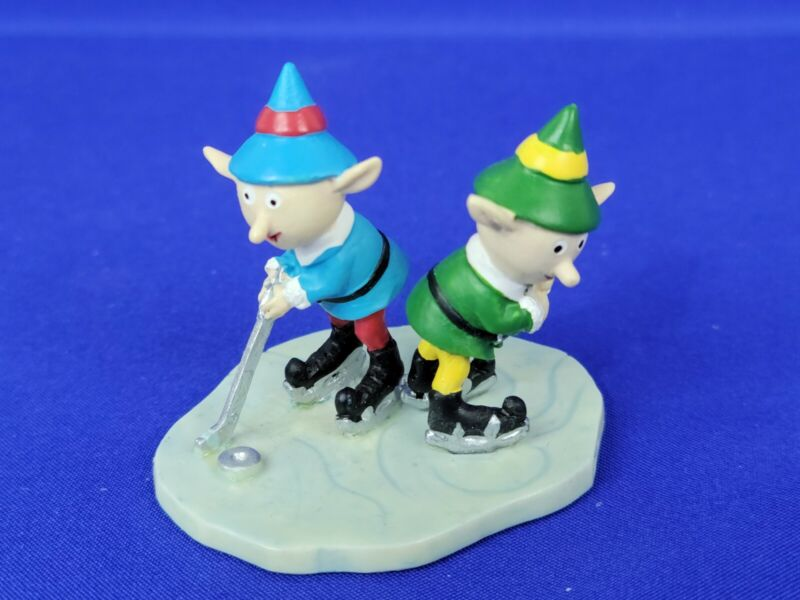 Hawthorne Village Rudolph Christmas Town Elf Hockey Players Blue & Green Suits