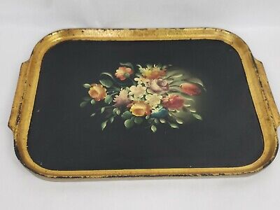 VTG Italian Florentine wooden tray hand painted Orange and Gold 20