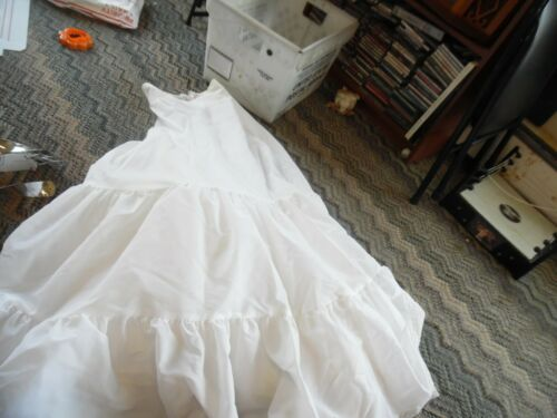 "2 tier  a- line white wedding gown slip 24"" waist"