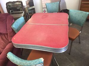 1950's Red Formica Kitchen Table