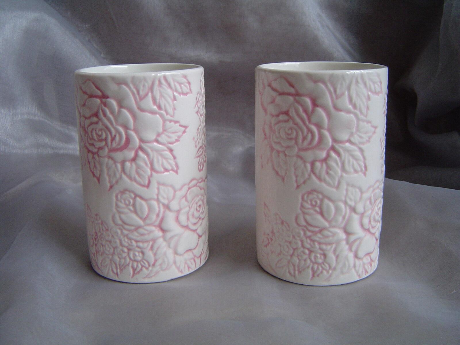 Zahnputzbecher Porzellan 2 Stück 2er Set rosa-weiß Rosenmuster