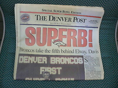Denver Post Jan 26 1998 Newspaper Denver Broncos Football Super Bowl Xxxii