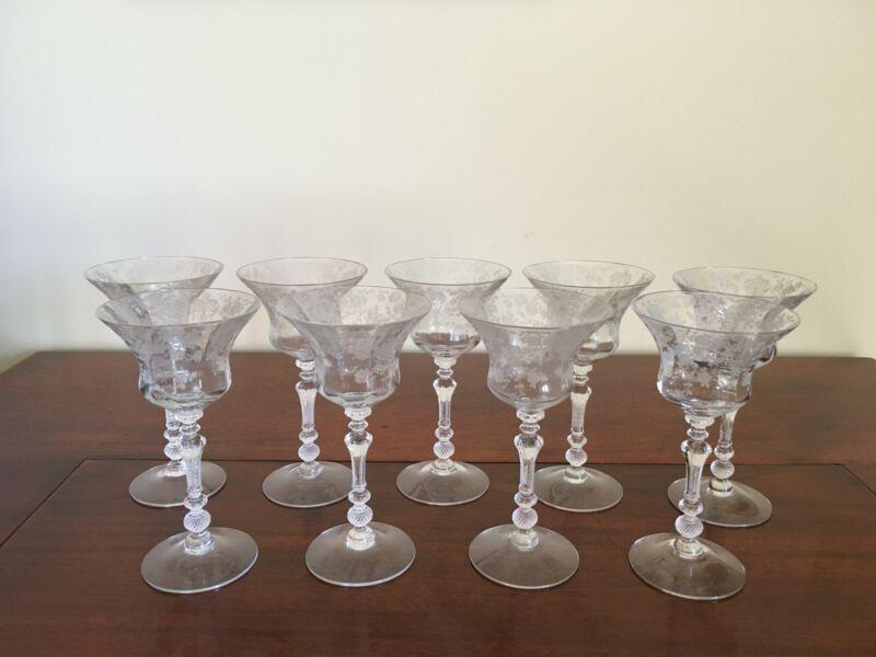 Lot of 9 - Elegant CAMBRIDGE ROSE POINT Wine/Cocktail Glasses 1940s