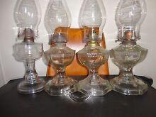 Four vintage oil lamps-can post Armidale City Preview
