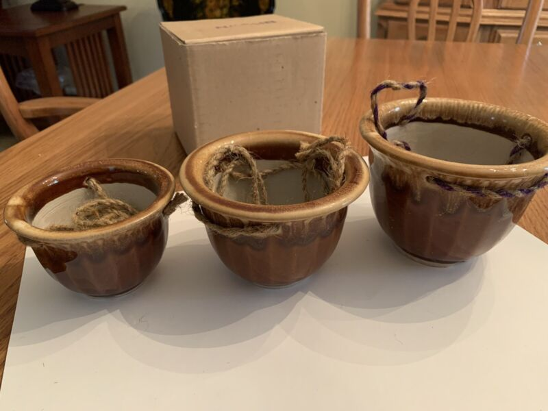 Vintage Ceramic Pottery- Set of Three Brown Hanging Planters- 1970s- New In Box!