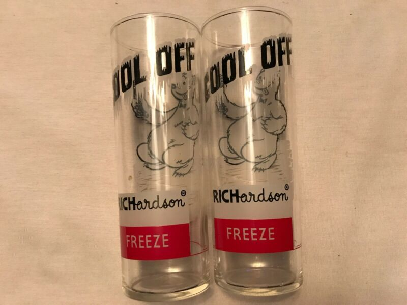 "2 Richardson Freeze "" cool Off "" Vintage Glasses, 1950's"
