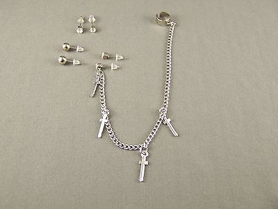 Silver CROSS crystal post ball stud earrings ear Cuff 6.5