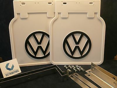 VW BUG MUD FLAPS WHITE WITH  BRACKETS PAIR 1950 ON FITS ALL BUGS 111821805W