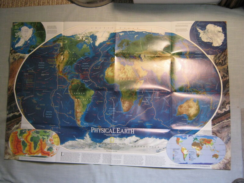 PHYSICAL EARTH MAP TWO-SIDED MAP National Geographic May 1998 MINT