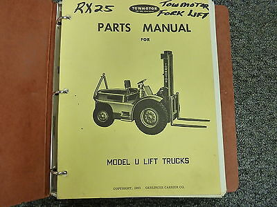 Towmotor Model U6 U8 Lift Truck Forklift Parts Catalog Manual Book