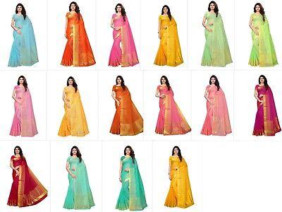 Kota Doria Cotton Saree - Women's Cotton Silk Gold stripes Kota Doria Saree Every Occasions - Free Ship