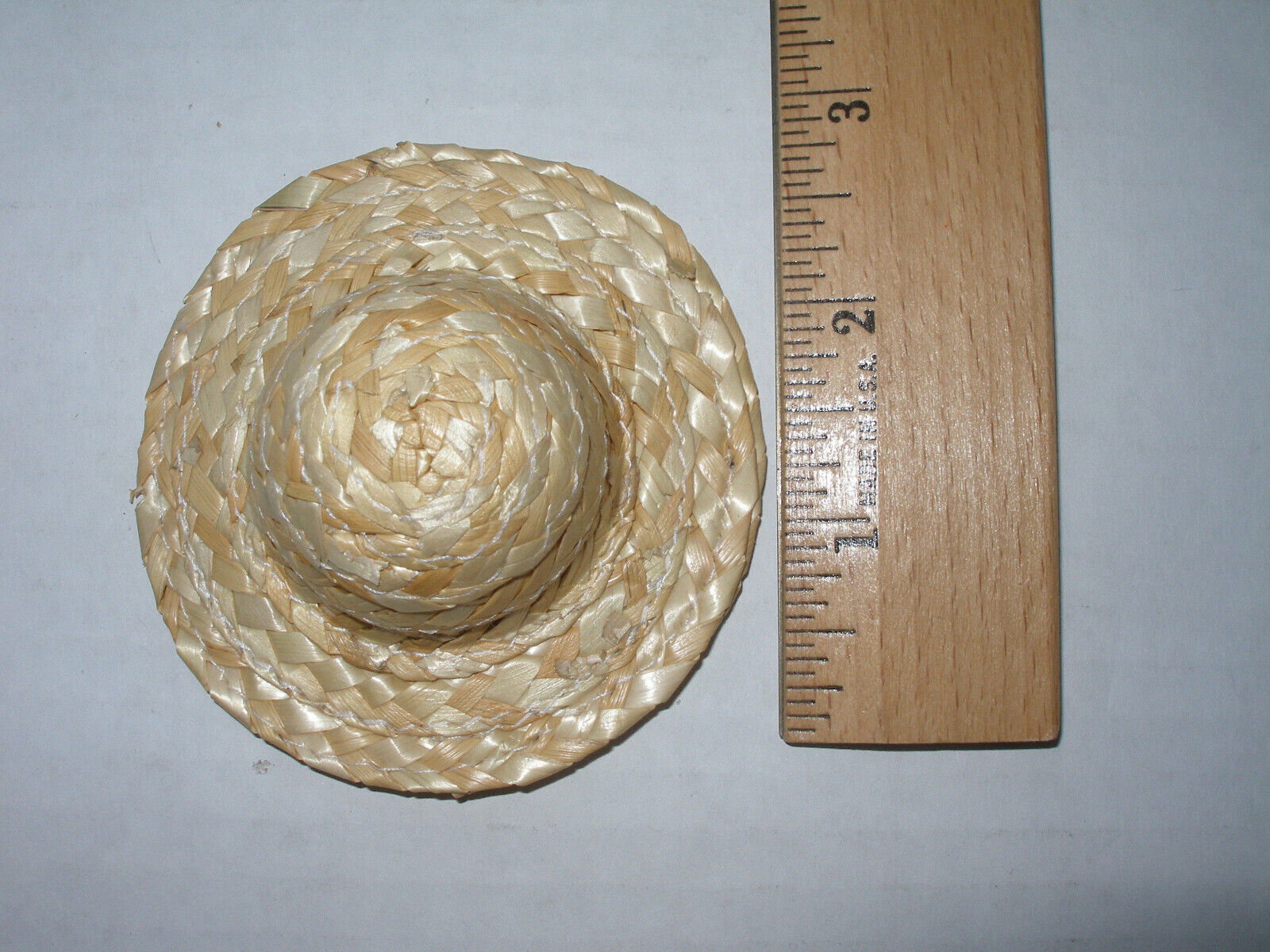 """Barbie Doll Size Straw Hats Set of Six 3x3"""" Sold as a Lot New"""