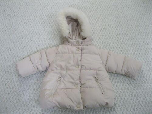 Zara BabyGirl Faux Fur Hood Zip Puffer Coat Beige Infant Girl 9-12 Months