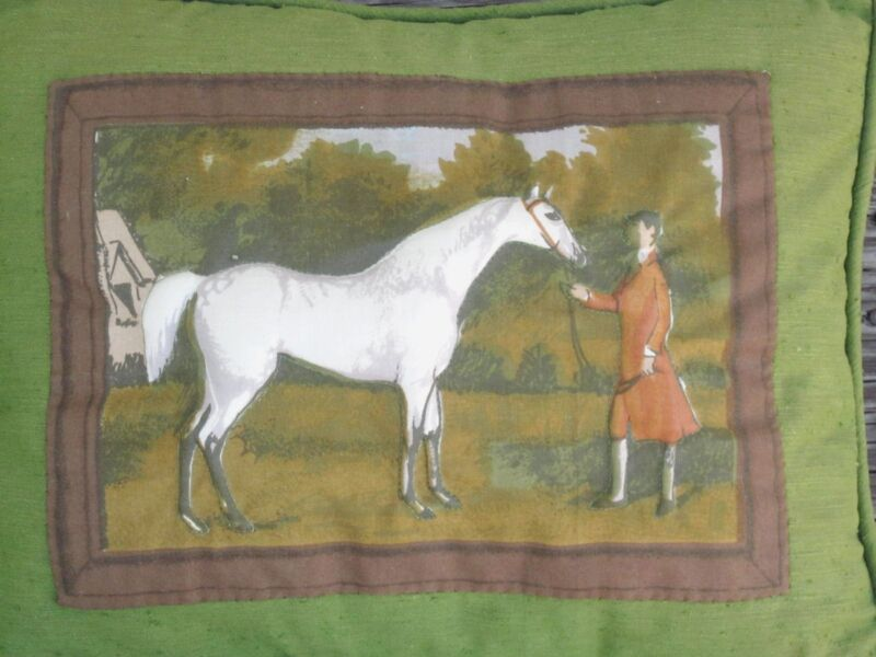 QUILTED 3D PILLOW with HORSE and RIDER EQUESTRIAN COUNTRYSIDE 1970