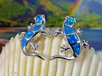 REAL STERLING SILVER BLUE OPAL GECKO POST (Opal Gecko)