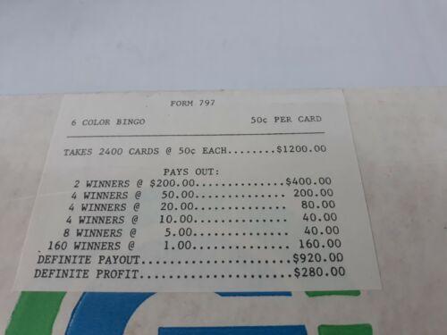 WINDOW PULL TAB TICKETS - 6 Color Bingo  - 2400  Count - $ .50