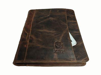 Leather Business Portfolio Padfolio Mens Organizer Folder Case Holder Zippered