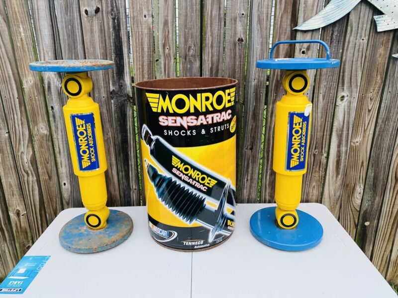 2 Monroe Shock Absorber Vintage Advertising Pedestal Ashtray And Metal Drum Can