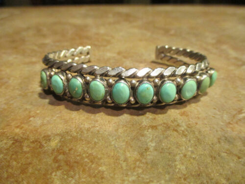 Exquisite Vintage Navajo Sterling Silver Turquoise ROW Bracelet