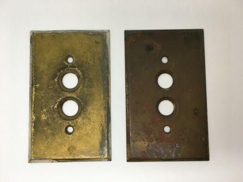 Vintage Heavy Brass Switch Plate Perkins Button Light Switch Wall Plate BIN