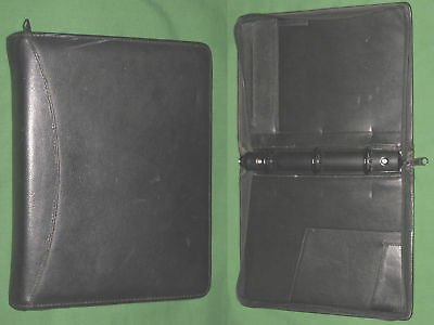 Classic 1.25 Black Leather Day Runner Planner 3 Ring Binder Franklin Covey 7186