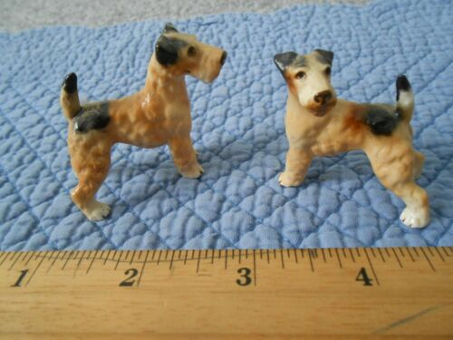 Two Beautiful Vintage Terrier Figurines, Excellent Colors