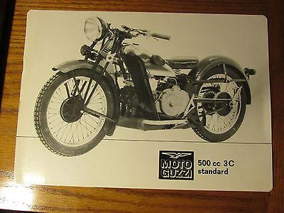 MOTO GUZZI 500cc 3C STANDARD DEALER  BROCHURE PINUP HARD SHEET 1933