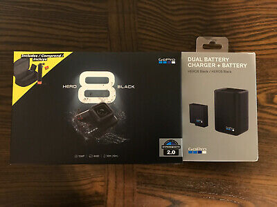 Gopro Hero 8 Black Bundle, Charger, Travel Case, 3 Batteries, Floating Grip, New