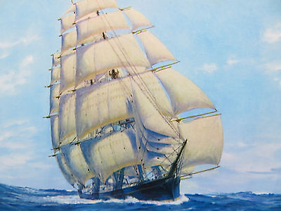 "Vintage 1949 Art Print Litho ""Under Full Sail"" 5315 C. MOSS"