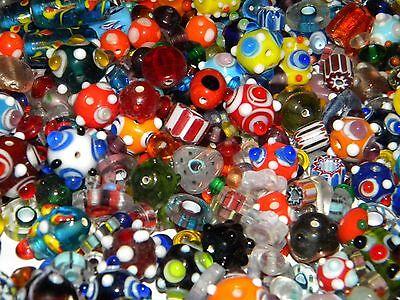 NEW 6/oz Lampwork Murano Bumpy Chevron Glass  BRIGHT COLOR MIX Random Beads LOT