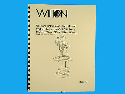 Wilton Model 2221vs 2223vs 2232ac 2234ac 20 Drill Press Op Part Manual 321