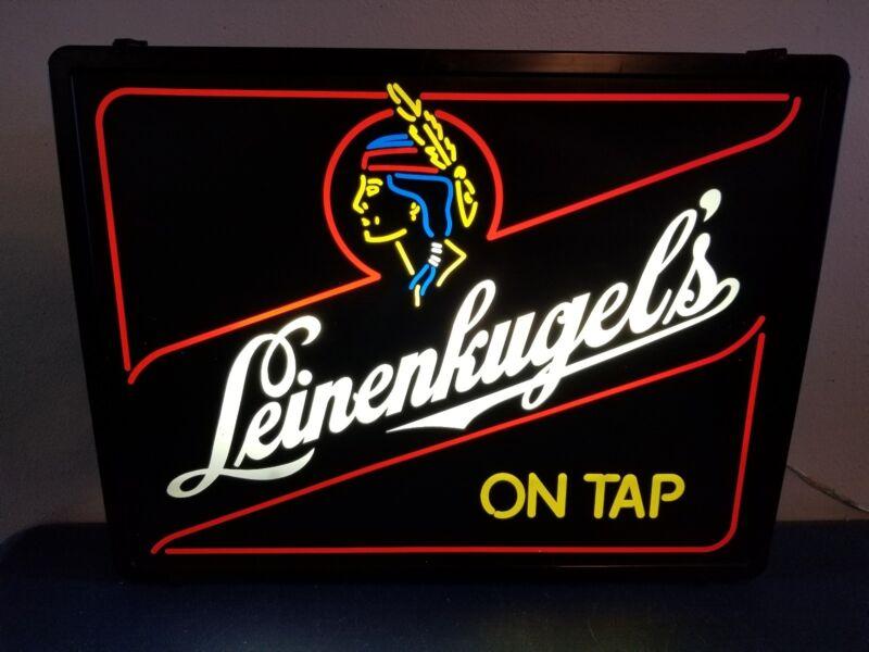 (VTG) 1980s LEINENKUGELS BEER ON TAP INDIAN PRINCESS BACK BAR LIGHT UP SIGN