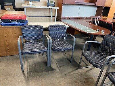 Lobbyguestside Chair W Arms By Haworth Improv In Designer Checkered Fabric