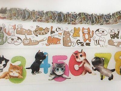 Animal Kitty Washi tape Japan Neko Number Cartoon Wide Fat Tape