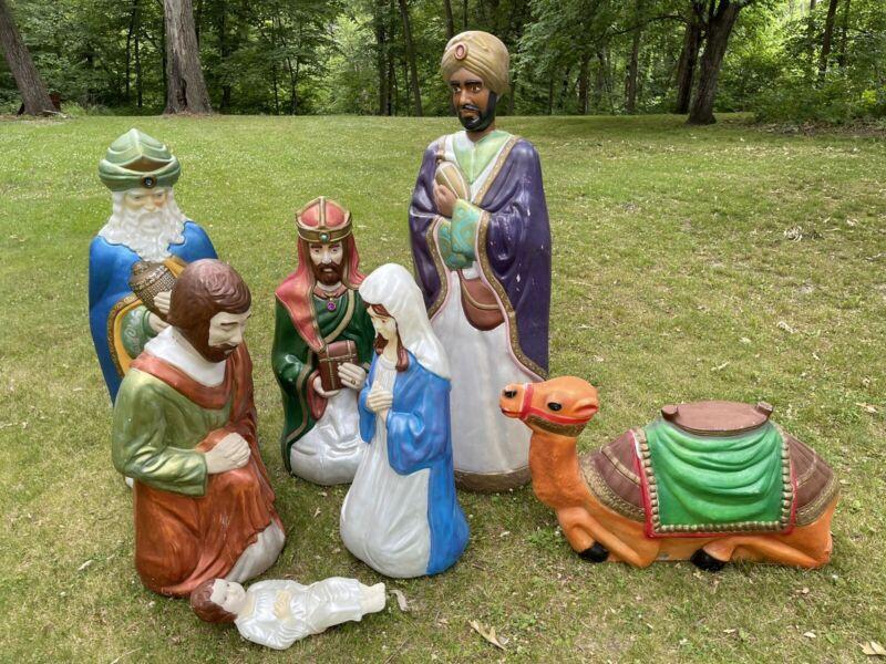 VINTAGE 7 PIECE SET EMPIRE LIFE SIZE NATIVITY SET CHRISTMAS BLOW MOLD