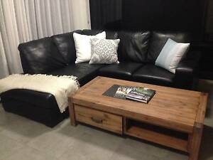 L Shape Couch Black Leather Look Smithfield Cairns City Preview
