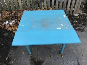 Antique turquoise farm table