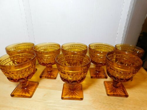 Glass~Indiana Colony Lane Amber Champaign/ Sherbet Vtg. 8 Pc. Set