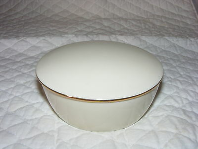 Lenox Special Collection China Round Dresser Box Trinket Holder Gold Trim