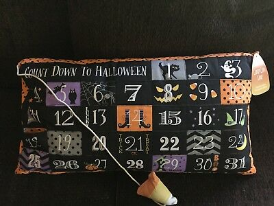 Halloween Advent Count Down Pillow New Scary Cat Candy Corn Witch Farmhouse