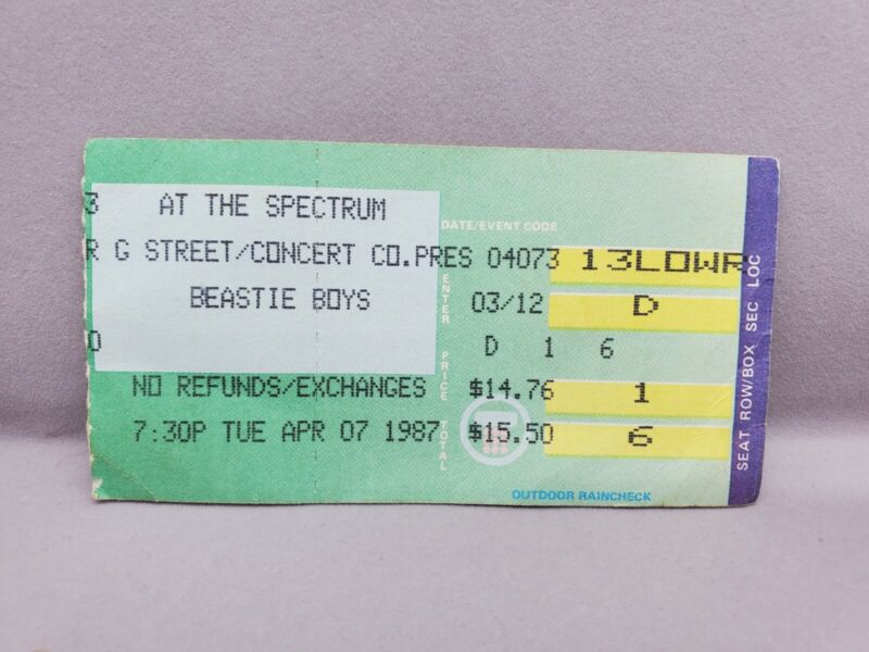 1987 BEASTIE BOYS PUBLIC ENEMY PHILADELPHIA CONCERT TICKET LICENSED TO ILL TOUR